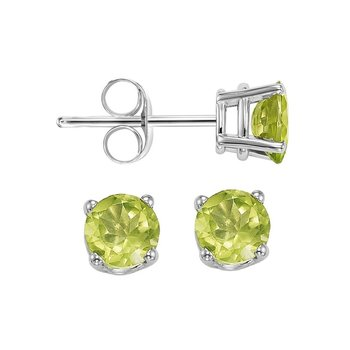 Four Prong Peridot Studs in 14K White Gold (4 MM)