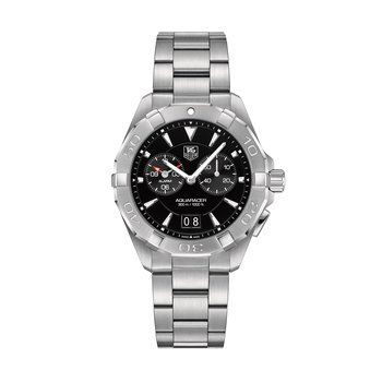 Aquaracer Mans Steel Alarm Watch. The 41 mm Quartz Watch Has A Black Dial, Sapphire Crystal, Water Resistant To 300 M And A Steel Bracelet With Wet Suit Extension. Model WAY111Z.