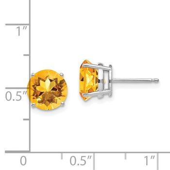 14k White Gold 8mm Citrine Earrings