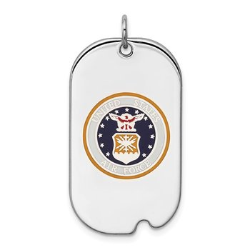 Sterling Silver Rhodium-plated US Air Force Dog Tag