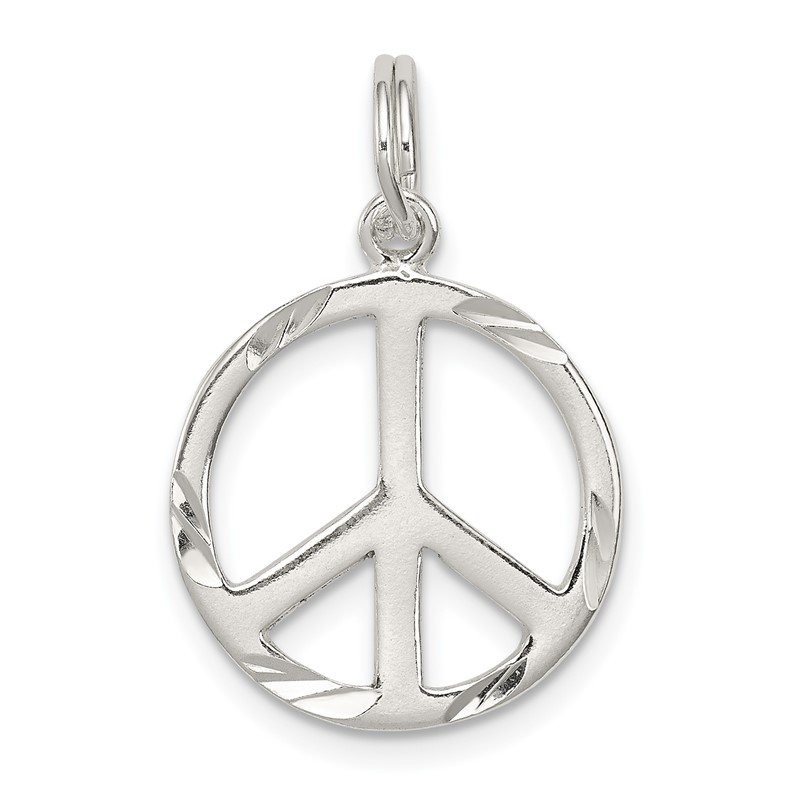 Quality Gold Sterling Silver Diamond-Cut Peace Symbol Charm