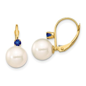 14K 8-8.5mm White Round FWC Pearl Sapphire Leverback Earrings