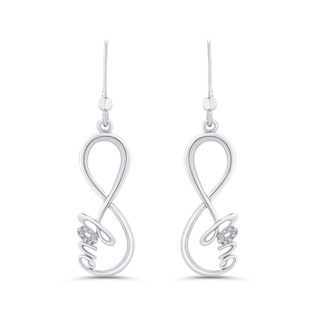 0.06 ct Round Diamond Drop Dangle Earrings