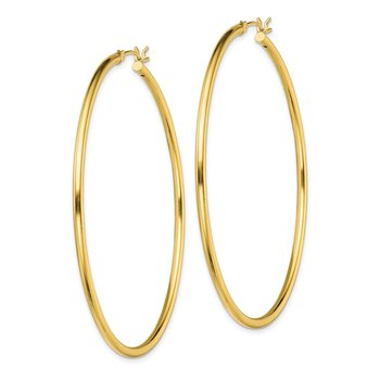 Sterling Silver Gold-Tone Polished 2x60mm Hoop Earrings