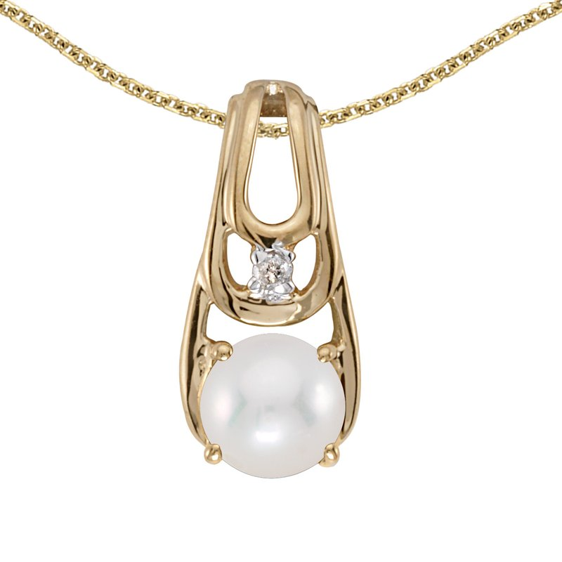 Color Merchants 14k Yellow Gold Freshwater Cultured Pearl And Diamond Pendant
