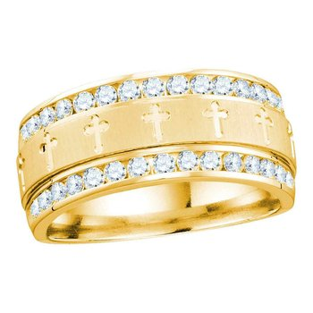 14k Yellow Gold Mens Round Diamond Grecco Christian Cross Wedding Anniversary Band Ring 1.00 Cttw
