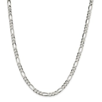 Sterling Silver 5.5mm Lightweight Flat Figaro Chain