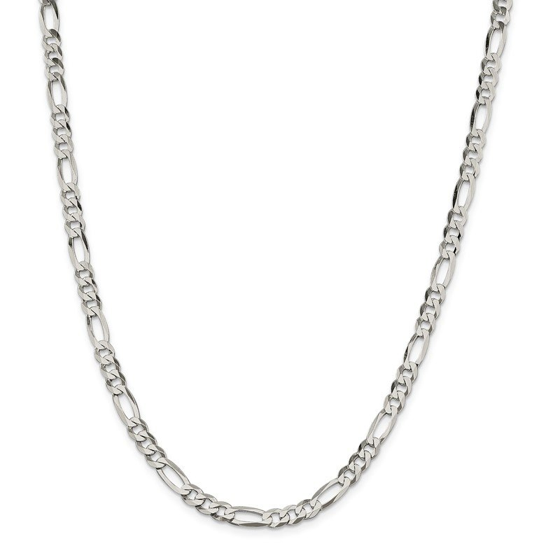 Quality Gold Sterling Silver 5.5mm Lightweight Flat Figaro Chain