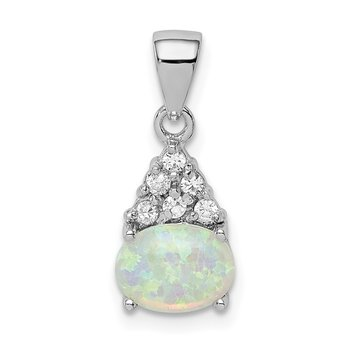 Sterling Silver Rhodium-plated Created Oval Opal and CZ Pendant