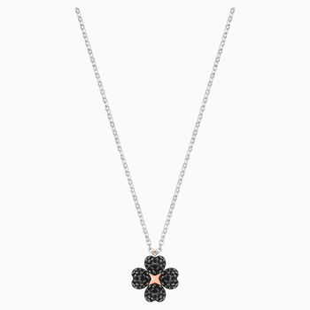 Latisha Flower Pendant, Black, Mixed metal finish