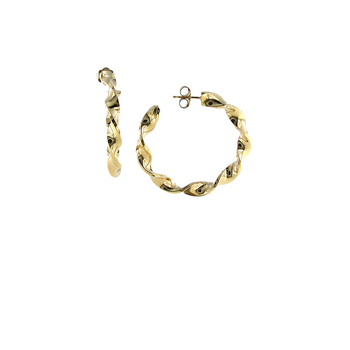 18KT GOLD ROUND TWISTED HOOP EARRINGS