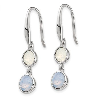Sterling Silver Rhod-plated Blue and White Crystal Dangle Earrings