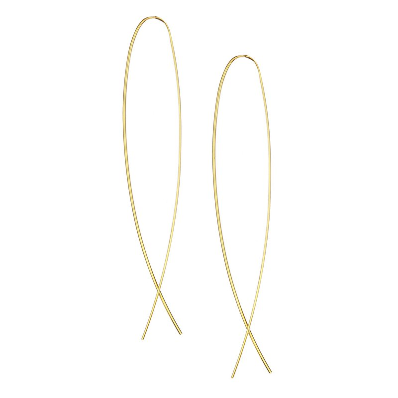 Lana Jewelry Narrow Flat Upside Down Hoops