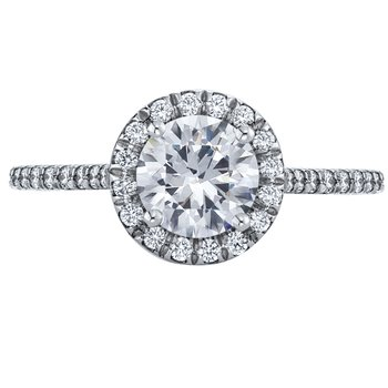 Pave Diamond Engagement Ring with Halo