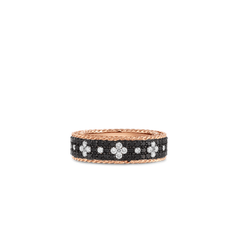Ring With Black And White Fleur De Lis Diamonds &Ndash; 18K Rose Gold