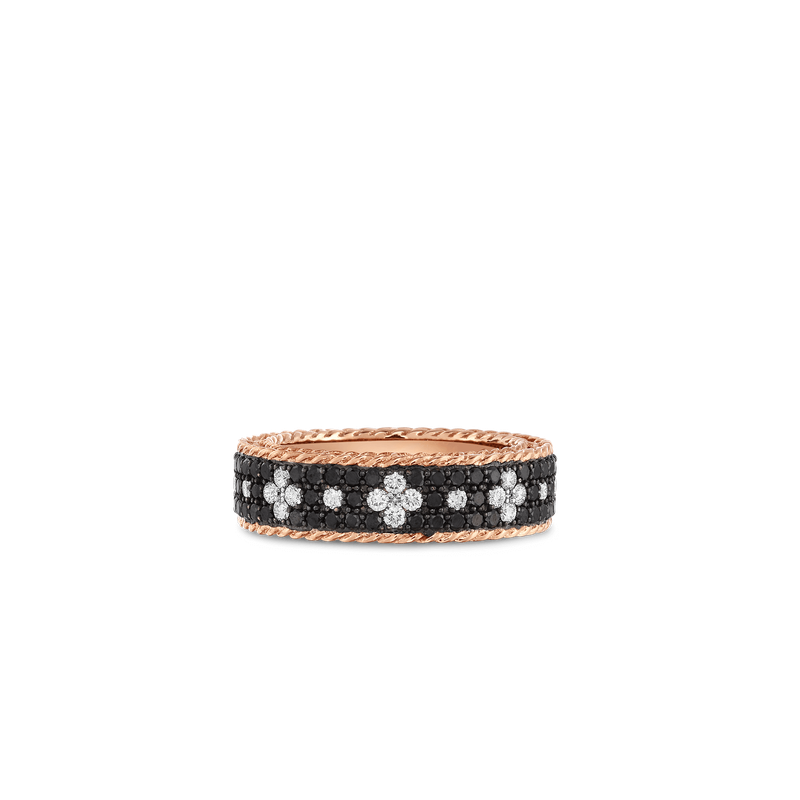 Roberto Coin Ring With Black And White Fleur De Lis Diamonds &Ndash; 18K Rose Gold