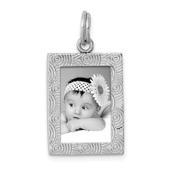 Sterling Silver Rhodium-plated Textured Picture Frame Charm