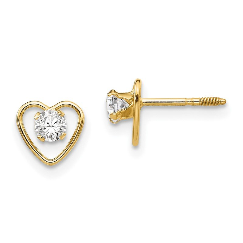 Quality Gold 14k Madi K 3mm White Zircon Birthstone Heart Earrings