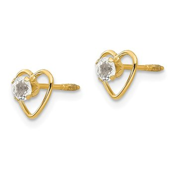 14k Madi K 3mm White Zircon Birthstone Heart Earrings
