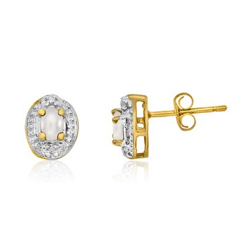 14k Yellow Gold Freshwater Cultured Pearl Earrings with Diamonds