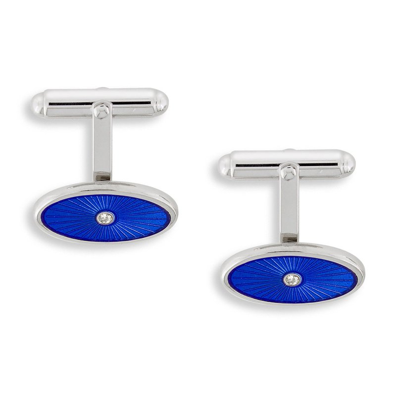 Nicole Barr Designs Blue Oval T-Bar Cufflinks.Sterling Silver-White Sapphires