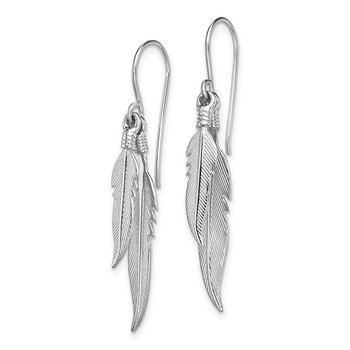 Sterling Silver Rhodium-plated Polished Feathers Dangle Earrings