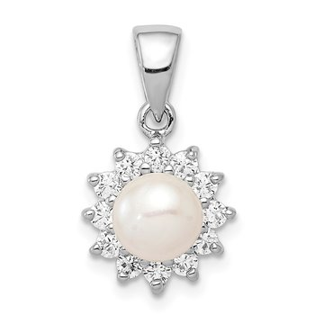 Sterling Silver Rhodium Plated FW Cultured Pearl & CZ Pendant
