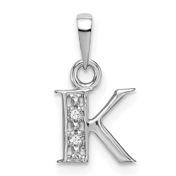 14KW Rhodium-plated Diamond Letter K Initial Pendant