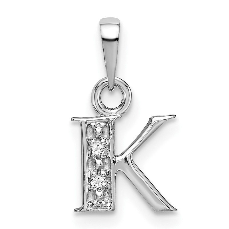 Quality Gold 14KW Rhodium-plated Diamond Letter K Initial Pendant