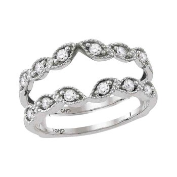 14kt White Gold Womens Round Diamond Milgrain Wrap Enhancer Wedding Band 1/3 Cttw