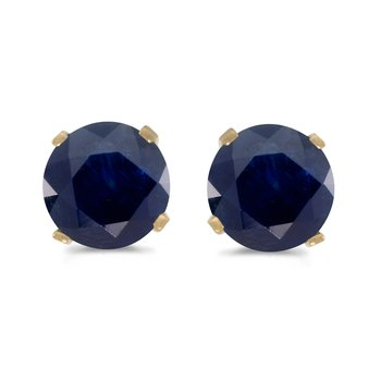 5 mm Natural Round Sapphire Stud Earrings Set in 14k Yellow Gold