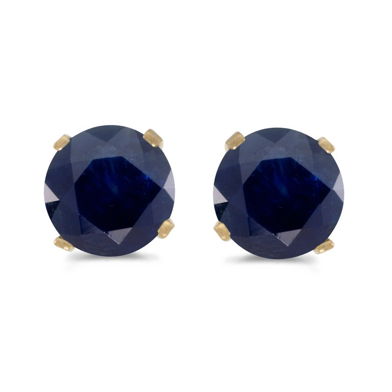 Color Merchants 5 mm Natural Round Sapphire Stud Earrings Set in 14k Yellow Gold