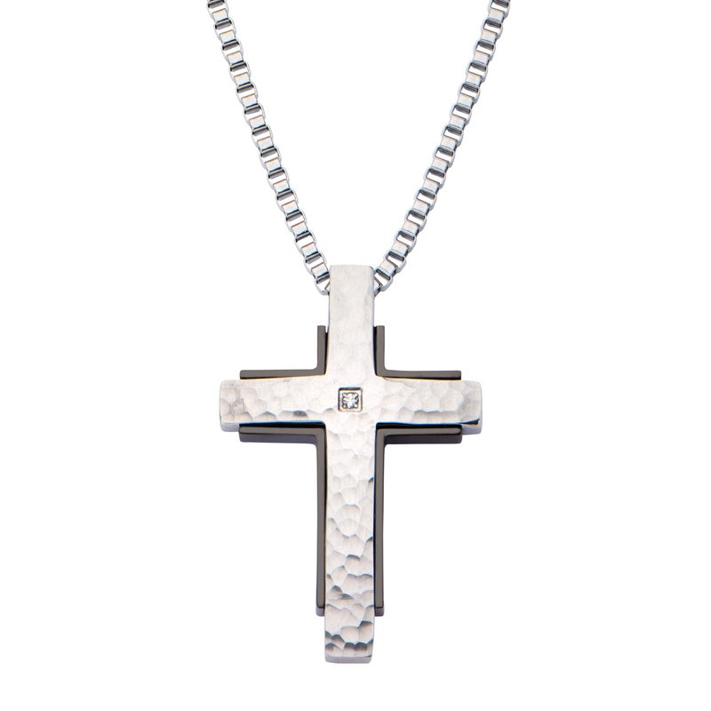 INOX Hammered with CZ and Black Plated Back Cross Pendant
