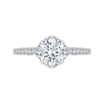 18K White Gold Round Diamond Floral Engagement Ring with Euro Shank (Semi-Mount)