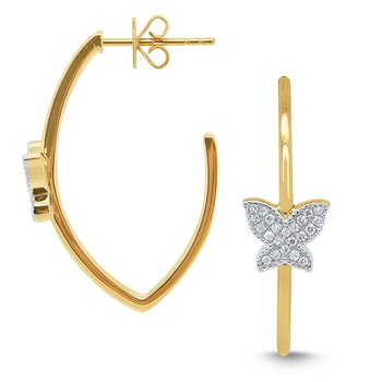14k Gold and Diamond Butterfly Hoop Earrings
