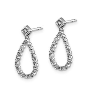 14k White Gold Diamond Teardrop Post Earrings