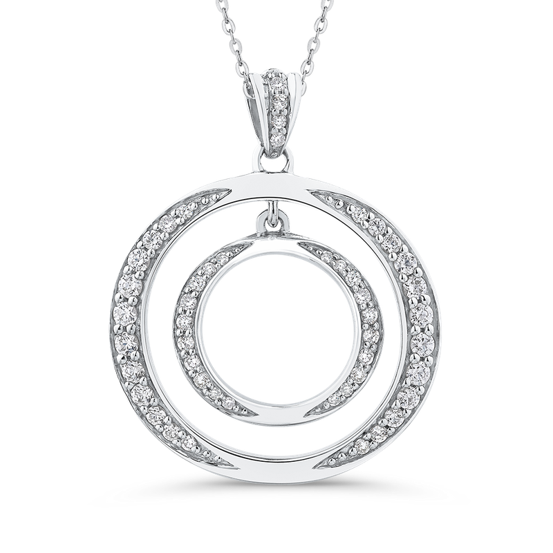3/8 Ct Diamond Circle Pendant with Chain
