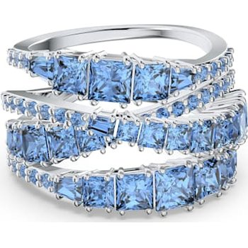 Twist Wrap Ring, Blue, Rhodium plated