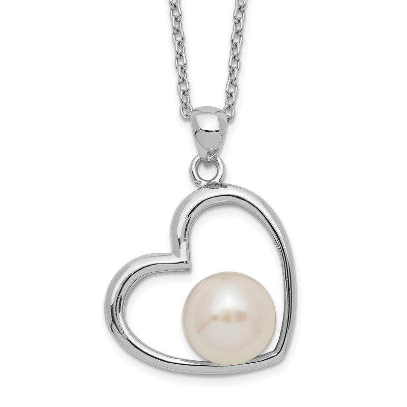 Quality Gold Sterling Silver Rhodium-plated 7-8mm White Button FWC Pearl Heart Necklace