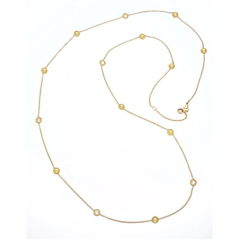 Roberto Coin Cento and Yellow Sapphire Station Necklace
