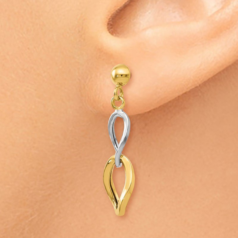 Leslie's Leslie's 14K Two-tone Polished Post Dangle Earrings