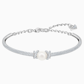 Originally Bangle, White, Rhodium plated