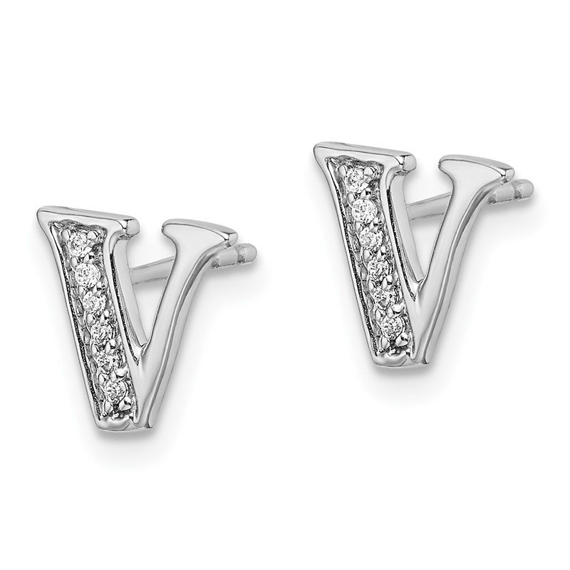 Quality Gold 14k White Gold Diamond Initial V Earrings