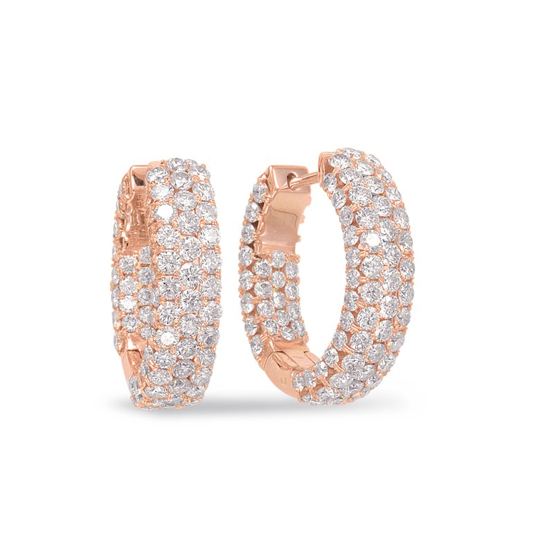 S. Kashi  & Sons Rose Gold Diamond Hoop Earring