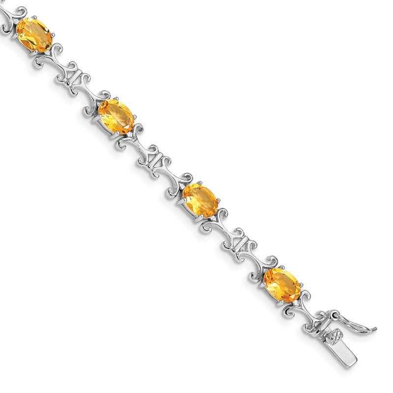 Quality Gold Sterling Silver Rhodium-plated Citrine Oval Bracelet