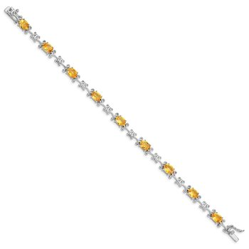 Sterling Silver Rhodium-plated Citrine Oval Bracelet