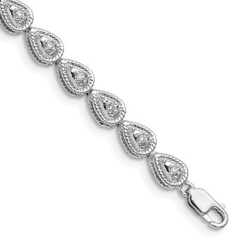 Sterling Silver Rhodium Plated Diamond Teardrop Link Bracelet