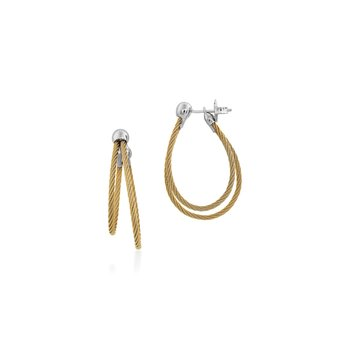 Yellow Cable Asymmetrical Hoop Earrings with 18kt White Gold