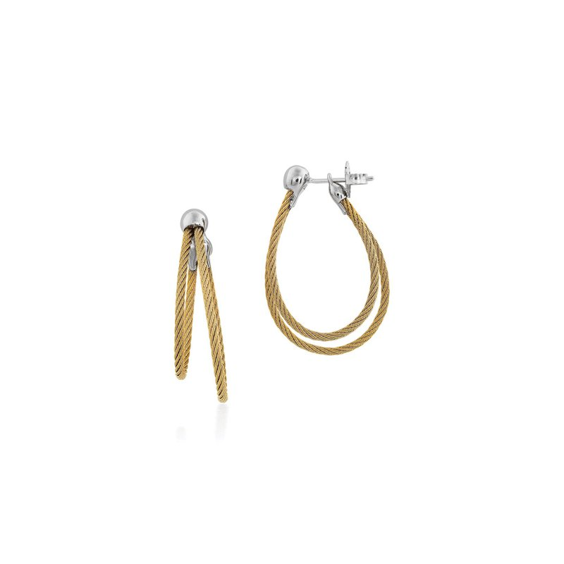ALOR Yellow Cable Asymmetrical Hoop Earrings with 18kt White Gold