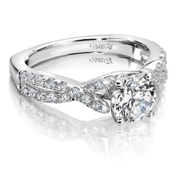 Criss Cross Engagement Ring in 14K White Gold with Platinum Head (1ct. tw.)